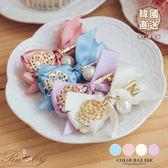 髮飾 韓國直送珠珠鑰匙造型蝴蝶結髮夾-Ruby s 露比午茶
