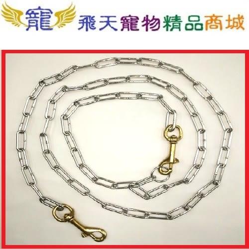 [寵飛天商城] 寵物白鐵項圈+白鐵鍊&10#雙頭白鐵鍊 (適用中型犬)