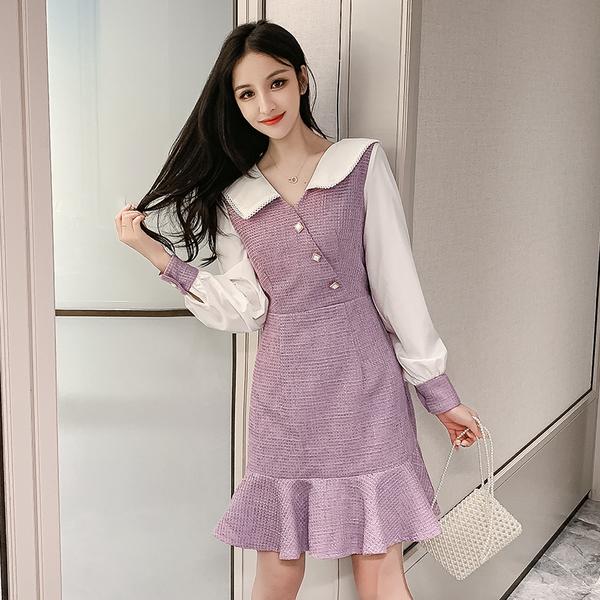 絕版出清 韓國風娃娃領格紋拼接雪紡收腰顯瘦長袖洋裝