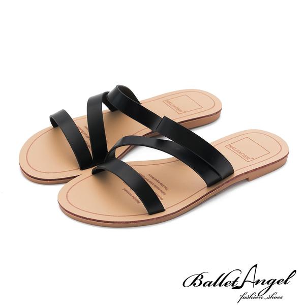 涼拖鞋 簡約隨興素面平底涼拖鞋(黑)*BalletAngel【18-2019-41bk】【現貨】