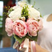 新年鉅惠 結婚用品 新娘手捧花婚慶歐式仿真伴娘手捧花森系婚禮裝飾花束