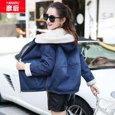 2019新款少女秋冬裝韓版寬鬆牛仔加絨加厚棉衣服高中學生短款外套
