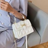 斜背包網紅女士包包2020流行新款潮時尚百搭錬條包斜背包夏季手提小方包 童趣屋