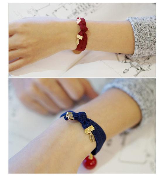 【O-ni O-ni】韓版女性布料髮圈珠珠款式彈力圈S925-33紅色