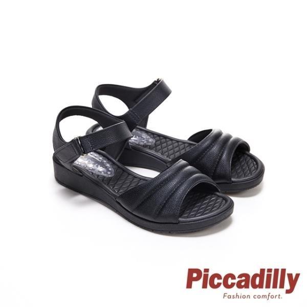 【南紡購物中心】Piccadilly 寬帶素面超軟坡跟船型底涼鞋 黑(另有奶茶色)