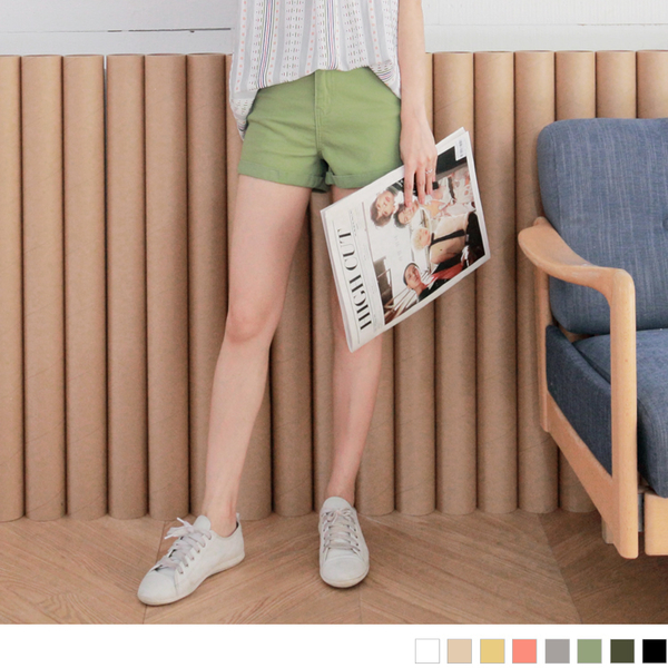 OrangeBear《BA3302》素面多色高含棉反摺高腰短褲.8色