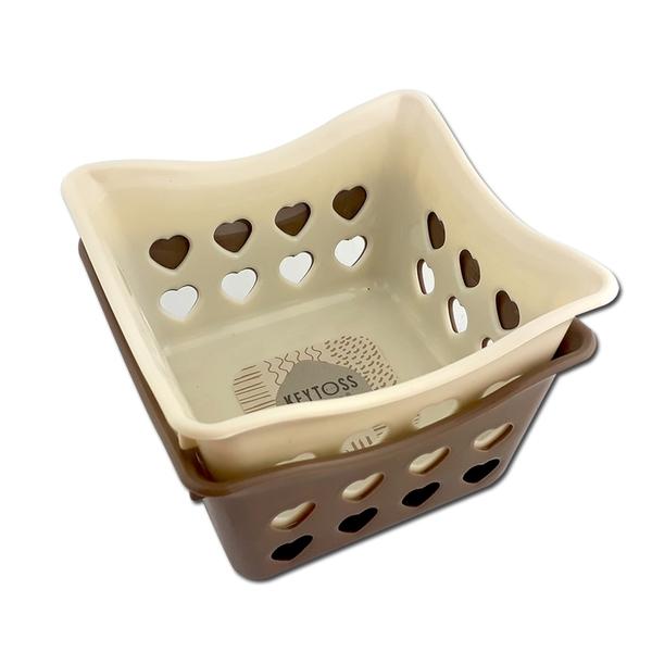 詰朵斯 心心收納籃1號(方形) 可堆疊收納盒 零件藍 置物籃 小物籃 桌面收納 桌上籃子 文具收納