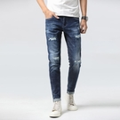 新品特惠# 時尚夏季新款男士破洞乞丐褲彈力修身小腳褲亞馬遜新款