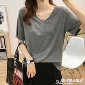 素色T恤 夏季新款涼爽冰絲寬鬆顯瘦V領素色純棉短袖T恤女薄款打底衫上衣潮 愛麗絲