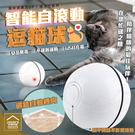智能自動滾動逗貓球 USB充電LED發光球 逗貓棒【BE0114】《約翰家庭百貨