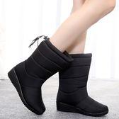 雪靴 2019冬季新款中筒雪地靴女士防水加絨靴加厚保暖棉鞋防滑坡跟女鞋