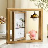 創意輕奢北歐個性鐵藝相框擺台ins木質雙面相架簡約現代擺件6寸六 韓慕精品 YTL