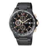 CITIZEN OXY 精悍有型計時男錶/黑x玫瑰金/AN3389-59E