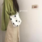 YOHOO!/波點控 韓系chic可愛波點百搭側背斜跨帆布包購物袋手提女  魔法鞋櫃