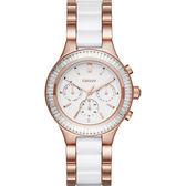 DKNY Ceramic 晶鑽陶瓷日曆時尚腕錶/手錶-白x玫塊金/38mm NY2498