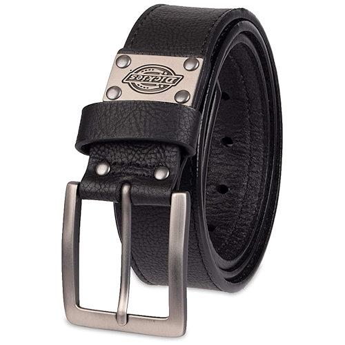 Dickies男士皮革徽標牌黑色腰帶