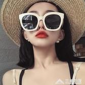 網紅款超大框方形墨鏡女圓臉復古白色框韓版偏光太陽鏡防紫外線潮 三角衣櫃