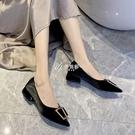 低跟鞋 低跟單鞋女年新款尖頭淺口小香風法式一腳蹬晚晚風溫柔鞋