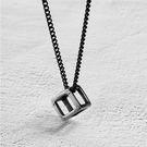 【5折超值價】經典時尚個性黑白方形特色造型情侶鈦鋼項鍊