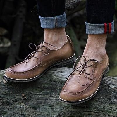 短靴真皮-繫帶時尚休閒百搭做舊男靴子3色73kk61【巴黎精品】