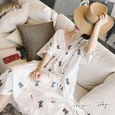 孕婦裝 MIMI別走【P52817】陽光托斯卡尼 棉麻繡花孕婦洋裝 贈內搭吊帶
