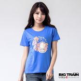 BIG TRAIN 福達磨花夏圓領TEE-女-藍