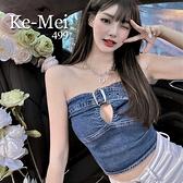 克妹Ke-Mei【ZT67814】SEXY辛辣小惡魔釦環美胸摟空牛仔馬甲