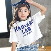 女童T恤 韓版女童短袖T恤純棉印花夏新款時尚寬鬆短款兒童夏裝上衣潮  新年下殺