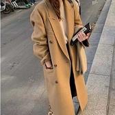 毛呢外套-長款雙排扣寬鬆休閒羊毛女大衣2色73yy7[巴黎精品]