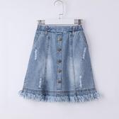 女童牛仔半身裙夏2020年夏季磨破流蘇中大童短裙子洋氣兒童半截裙