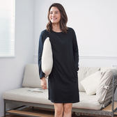 【GIORDANO】女裝素色輕磨毛薄長袖家居連身裙 - 09 標誌黑