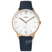 FOSSIL / FS5567 / Andy 羅馬刻度 秒針視窗 礦石強化玻璃 日本機芯 真皮手錶 白x玫瑰金框x藍 42mm