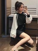 裙子女新款早秋裝韓版無袖背心連身裙外搭拼色短款衛衣兩件套 亞斯藍
