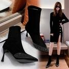 黑色性感靴子女 2021秋冬新款水鉆高跟短靴女細跟裸靴尖頭馬丁靴加絨瘦瘦靴 8號店