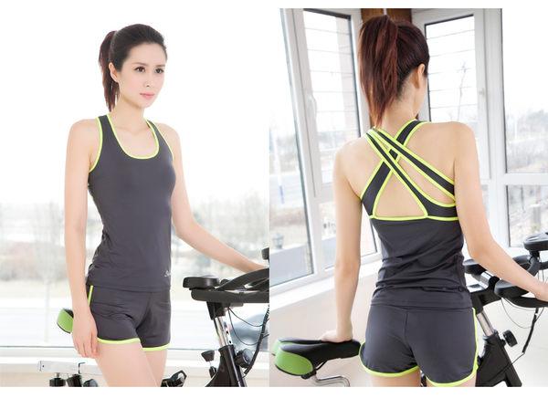 瑜伽服春夏季套裝顯瘦瑜珈服女健身服跑步緊身衣背心短褲中褲- xby001