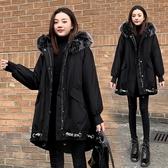 秋冬上新大碼女裝大碼女裝冬季新款大毛領羽絨棉衣服女胖mm蝙蝠袖派克服大衣200斤