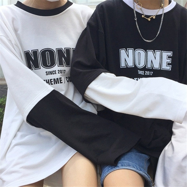 FINDSENSE Z1 日系 時尚 潮 男女情侶款 時尚 NONE字母 假兩件