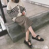 娃娃鞋2018夏季新款單鞋女方頭淺口低跟平底鞋蝴蝶結芭蕾鞋復古休閒皮鞋 伊蒂斯女裝