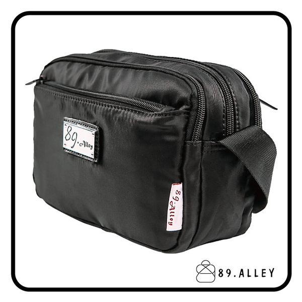 側背包 女包男包 黑色系防水包 輕量尼龍鐵牌雙層情侶斜背包 89.Alley ☀1色 HB89143