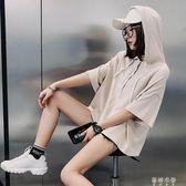 薄款短袖衛衣女連帽純色寬鬆bf風夏季新款純棉半袖上衣  蓓娜衣都