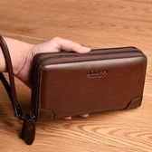 降價兩天-長版錢包手包男士新品手拿包潮流商務皮夾長版男錢包休閒手抓包