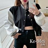 克妹Ke-Mei【ZT67123】LA 歐美時尚字母圖騰併接仿皮袖棒球外套