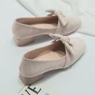 低跟鞋 法式名媛粗跟高跟鞋女新款蝴蝶結中跟晚晚鞋網紅百搭單鞋低跟