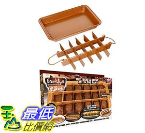 [8美國直購] 不沾鍋 不粘鍋烤盤 Brooklyn Brownie Copper by Gotham Steel Nonstick Baking Pan with Built-In Slicer