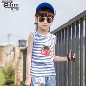 短袖T恤  童裝男童條紋無袖兒童夏天工字背心2019夏裝新款中大童潮