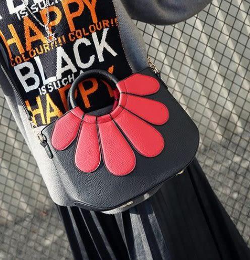 預購-韓版花朵拼接設計單肩手提包