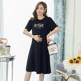孕婦裝 MIMI別走【P521231】修身剪裁 ROSE字母彈力連身裙 孕婦裙 洋裝