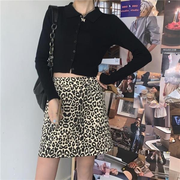 豹紋a型短裙a字裙