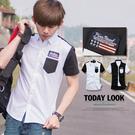 柒零年代【N8424J】韓系低調時尚黑白撞色美國國旗徽章短袖襯衫(JK0007)