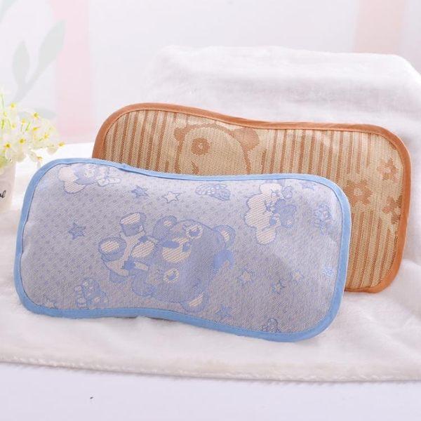嬰兒夏季涼枕0-1-3-6歲寶寶冰絲蕎麥吸汗涼席枕頭兒童午睡透氣枕